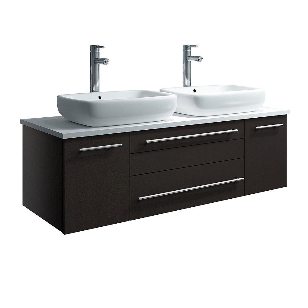 Fresca Lucera Armoire de salle de bains murale moderne espresso 48 po avec dessus et double lavabo