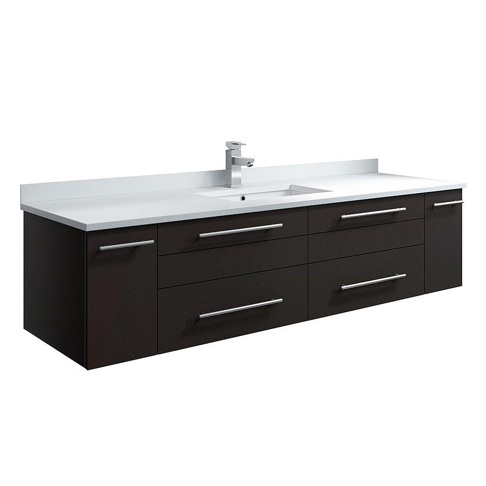 Fresca Lucera 60 inch Espresso Wall Hung Single Undermount Sink Modern Bathroom Vanity