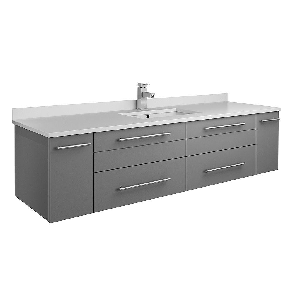 Fresca Lucera 60 inch Gray Wall Hung Single Undermount Sink Modern Bathroom Vanity