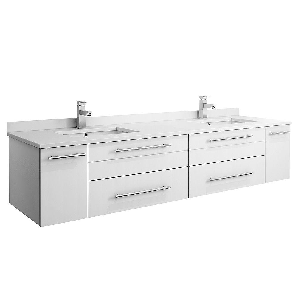 Fresca Lucera 72 inch White Wall Hung Double Undermount Sink Modern Bathroom Vanity