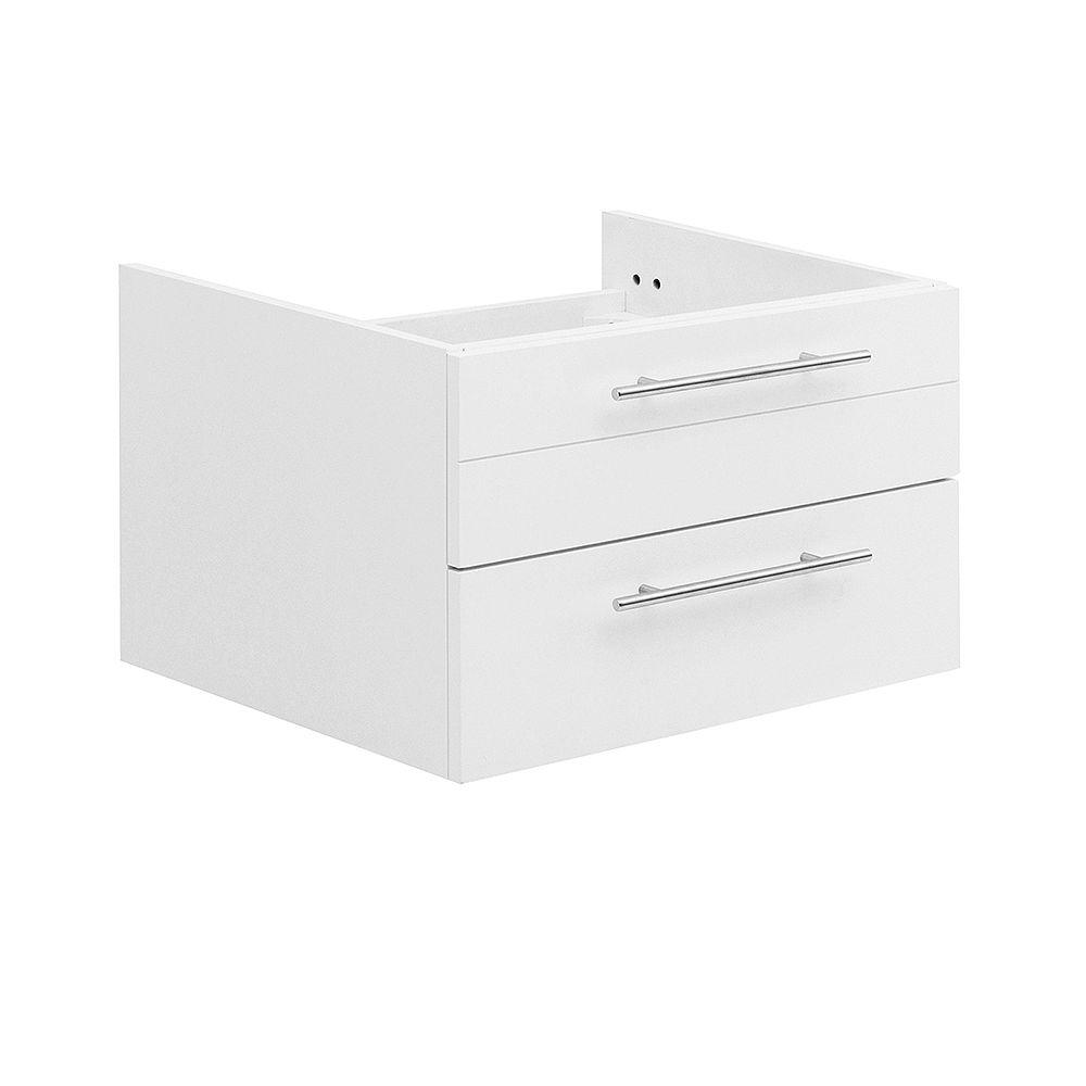 Fresca Lucera 24 inch White Wall Hung Undermount Sink Modern Bathroom Vanity Only