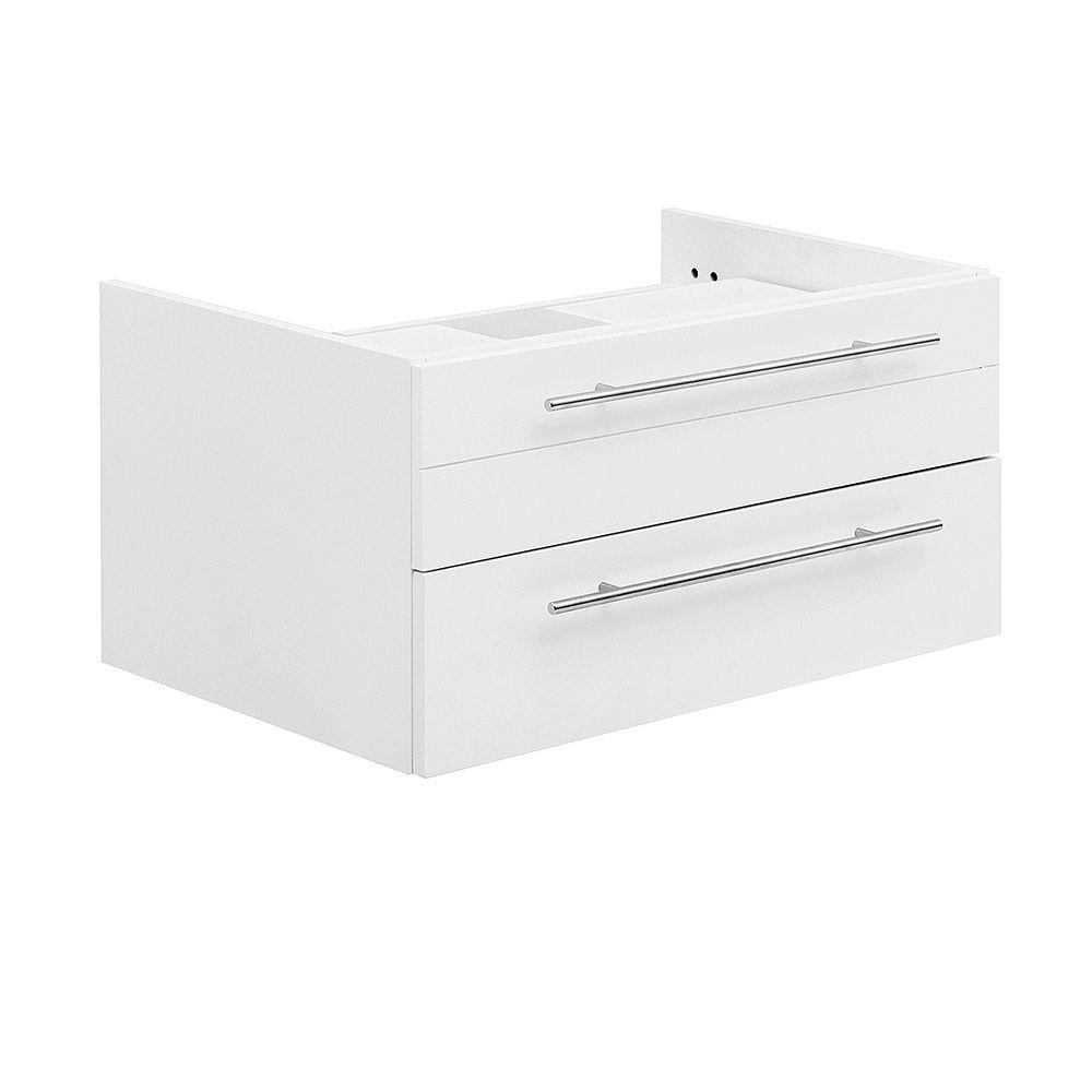 Fresca Lucera 30 inch White Wall Hung Vessel Sink Modern Bathroom Vanity Only
