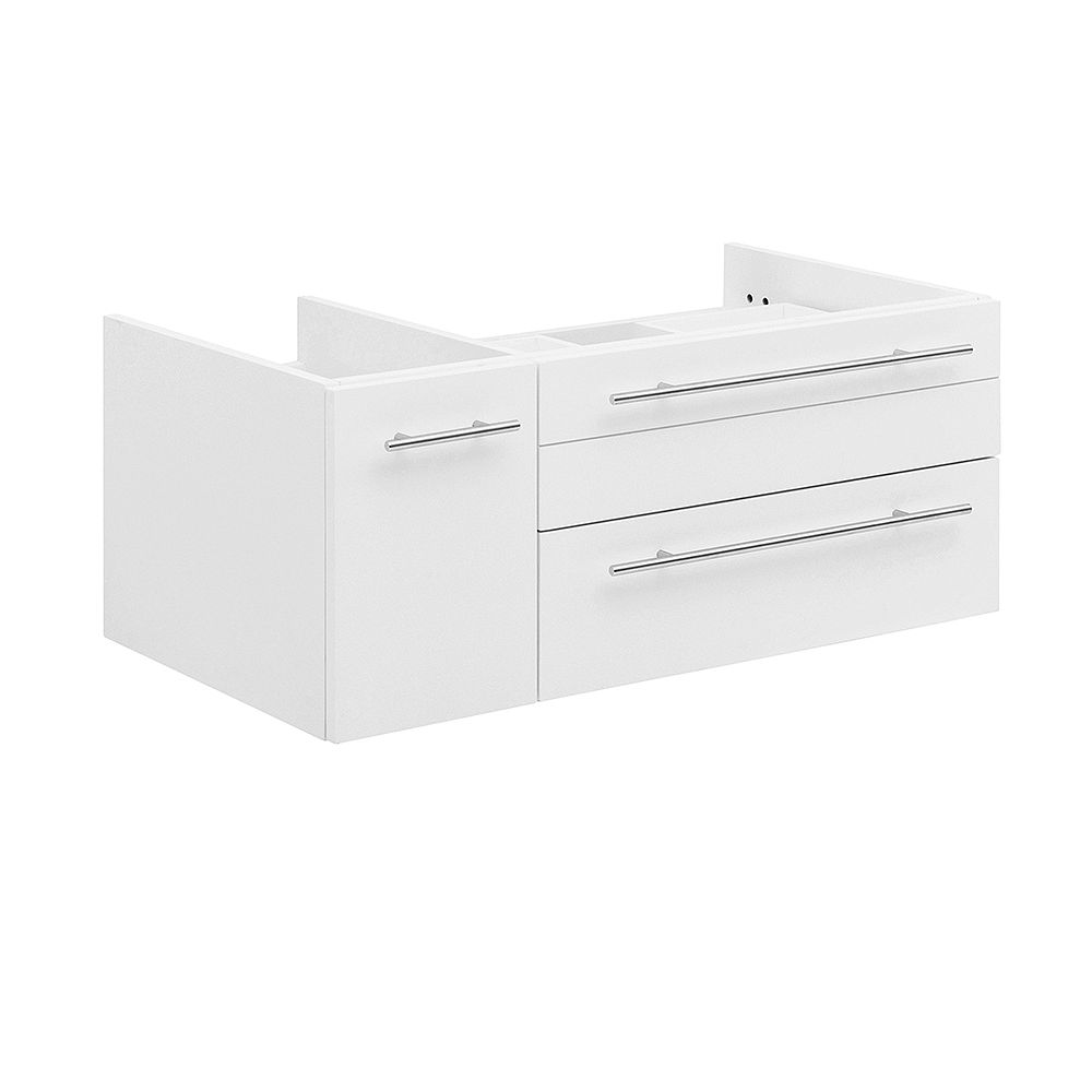 Fresca Lucera 36 inch White Wall Hung Right Side Vessel Sink Modern Bathroom Vanity Only