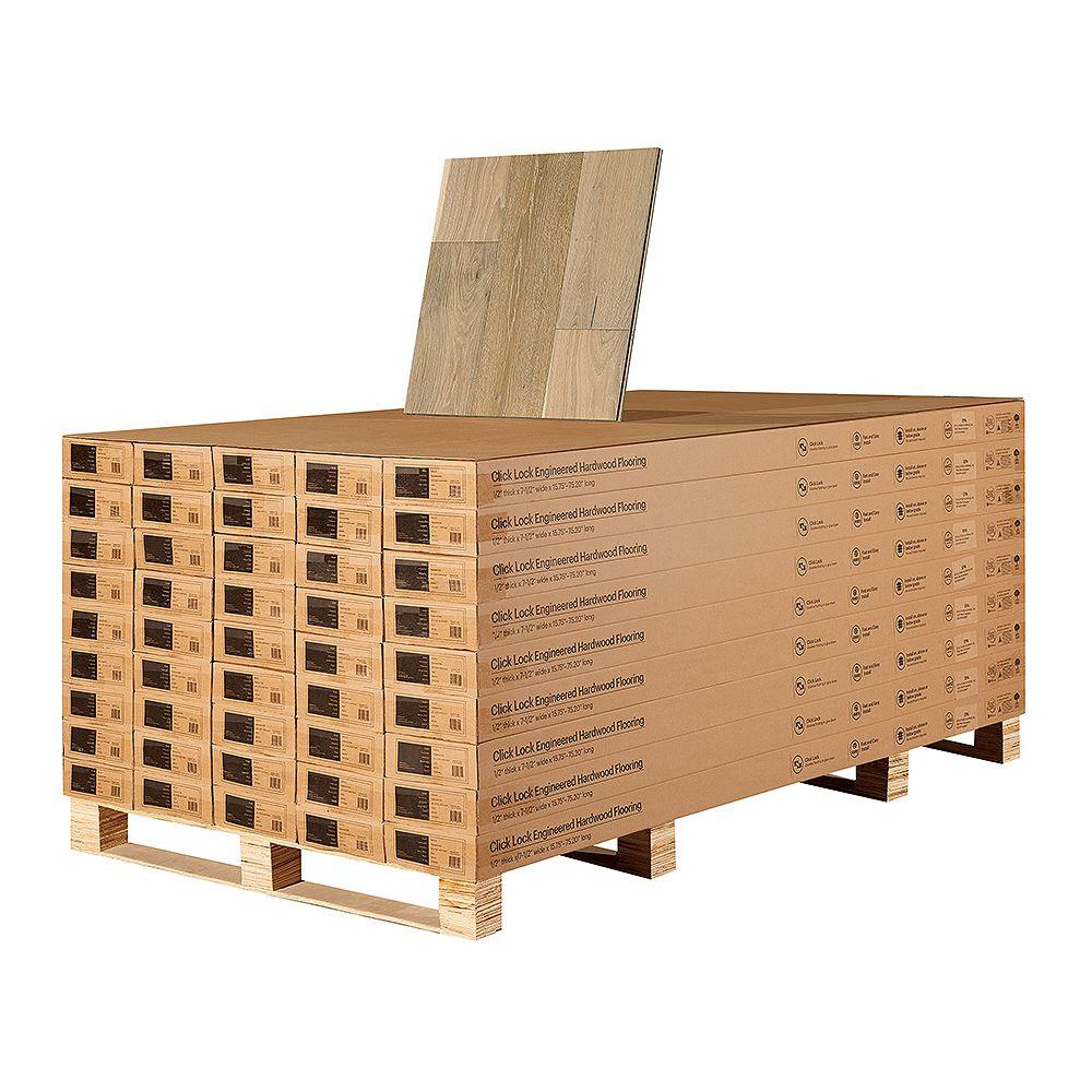 Malibu Wide Plank Revêt. sol bois franc ingén. à emboît., chêne français Ventura, 1/2 po x 7,5 po, 1054,8 pi2/pal.