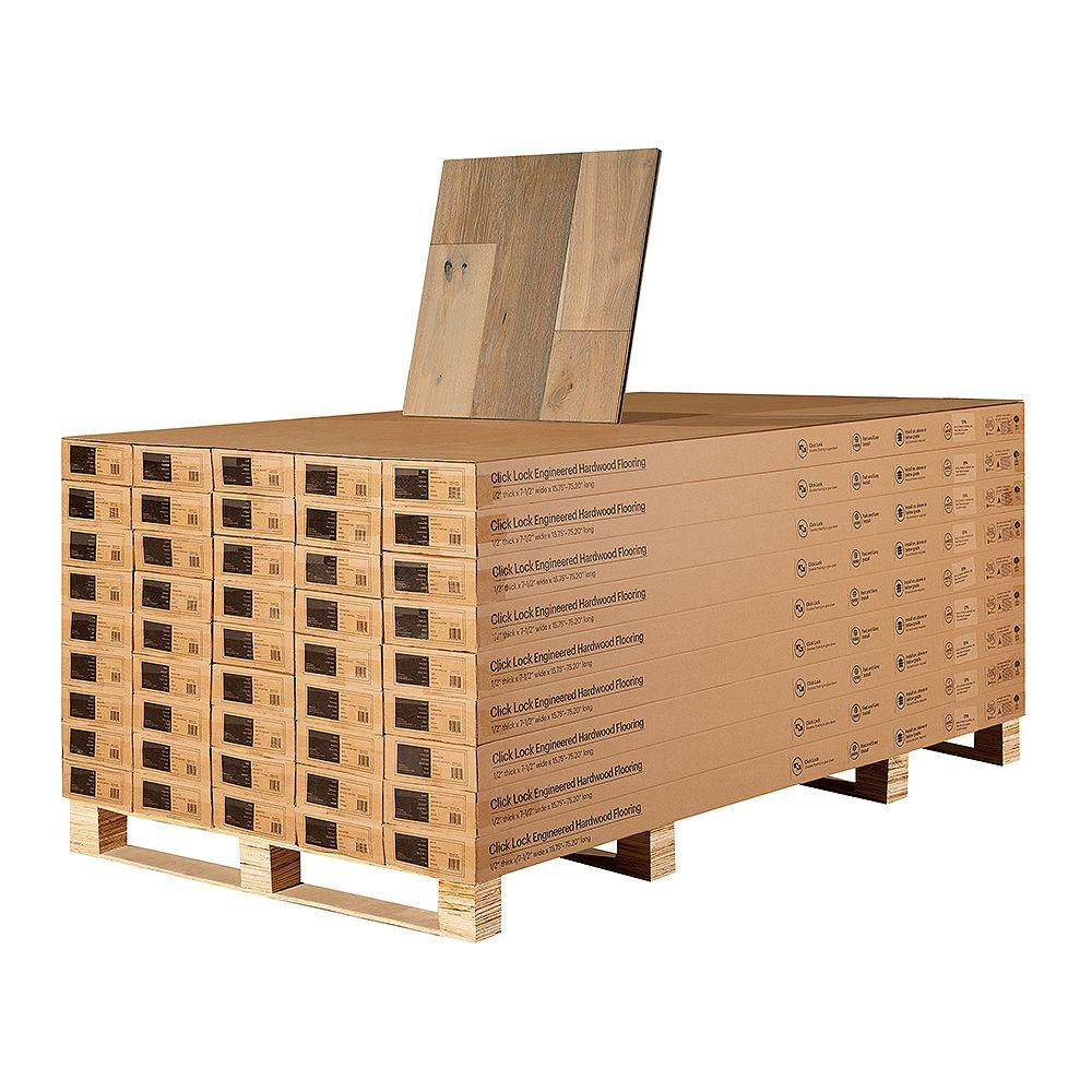Malibu Wide Plank Revêt. bois franc ingén. à emboît., chêne français Silver Sands, 1/2 po x 7,5 po, 1054,8 pi2/pal.