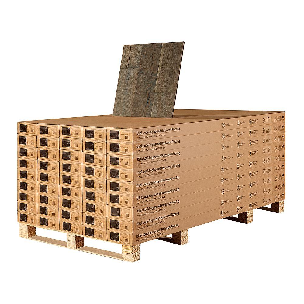 Malibu Wide Plank Revêt. sol bois franc ingén. à emboît., chêne français Daytona, 1/2 po E x 7,5 po L, 1054,8 pi2/pal.