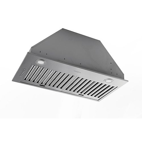 Hotte de cuisine de 28 po 600 pi3/min encastrée à conduit en acier inoxydable