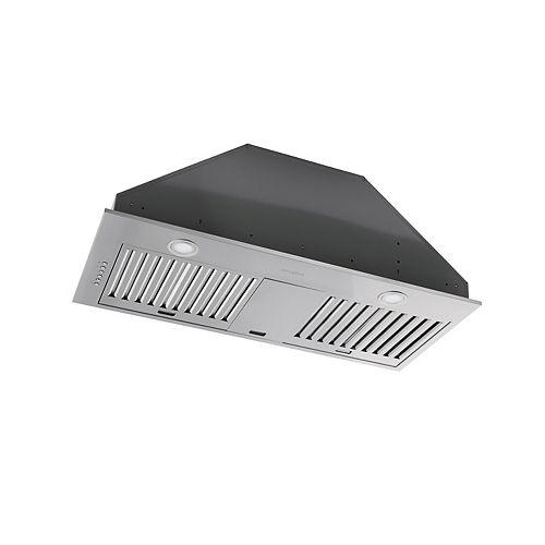 Hotte de cuisine de 34 po 600 pi3/min encastrée à conduit en acier inoxydable