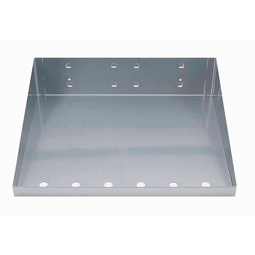 12 In. W x 10 In. D Silver Epoxy Powder Coated LocBoard Steel Shelf with 6 Holes for Garment Hangers