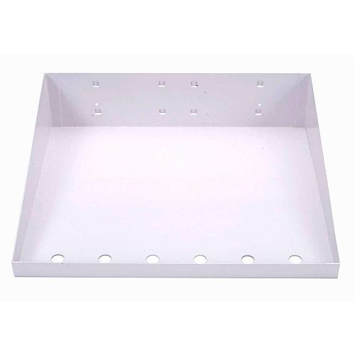 12 In. W x 10 In. D White Epoxy Powder Coated LocBoard Steel Shelf with 6 Holes for Garment Hangers