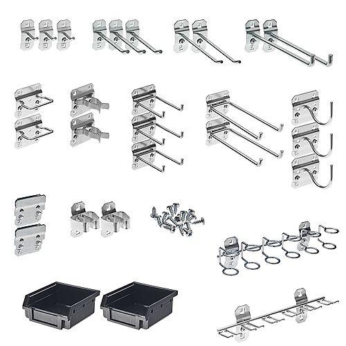 30 Pc Steel Hook & Bin Assortment for LocBoard (28 Asst Hooks & 2 Bins)