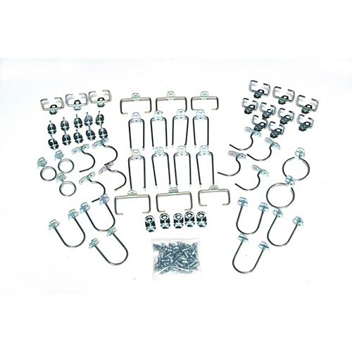 60 pc Value Pack Assortment of Locking Pegboard Hooks