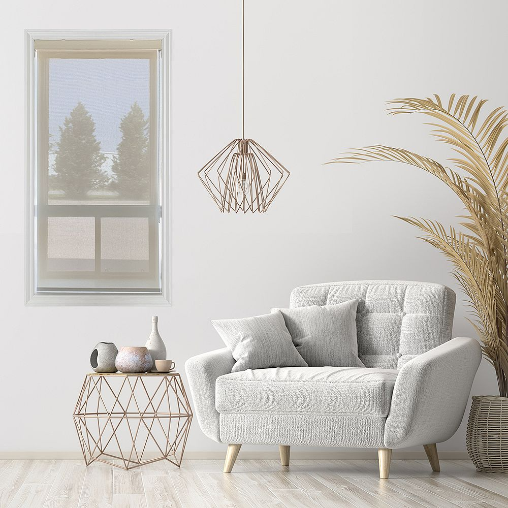 Trueview Store pare-soleil à enroulement en tissu Huître/beige 99.7 cm x 213.4 cm