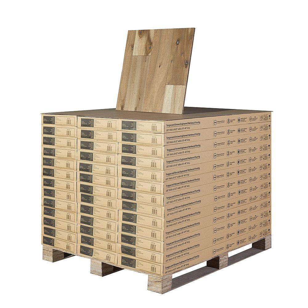 Malibu Wide Plank Revêt. sol bois franc ingénierie, acacia Del Mar, 3/8 po x 6 1/2 x long. var., 997,21 pi2/palette