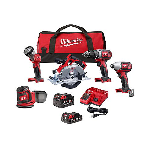 Milwaukee Tool M18 18V Lithium-Ion Cordless Combo Kit (5-Tool) with 2-Batteries, Charger and Tool Bag
