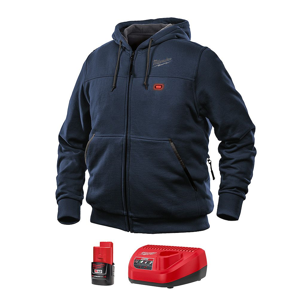 Milwaukee Tool Men's Medium M12 12V Lithium-Ion Blue Heated Hoodie Kit with 1.5 Ah Battery and Charger