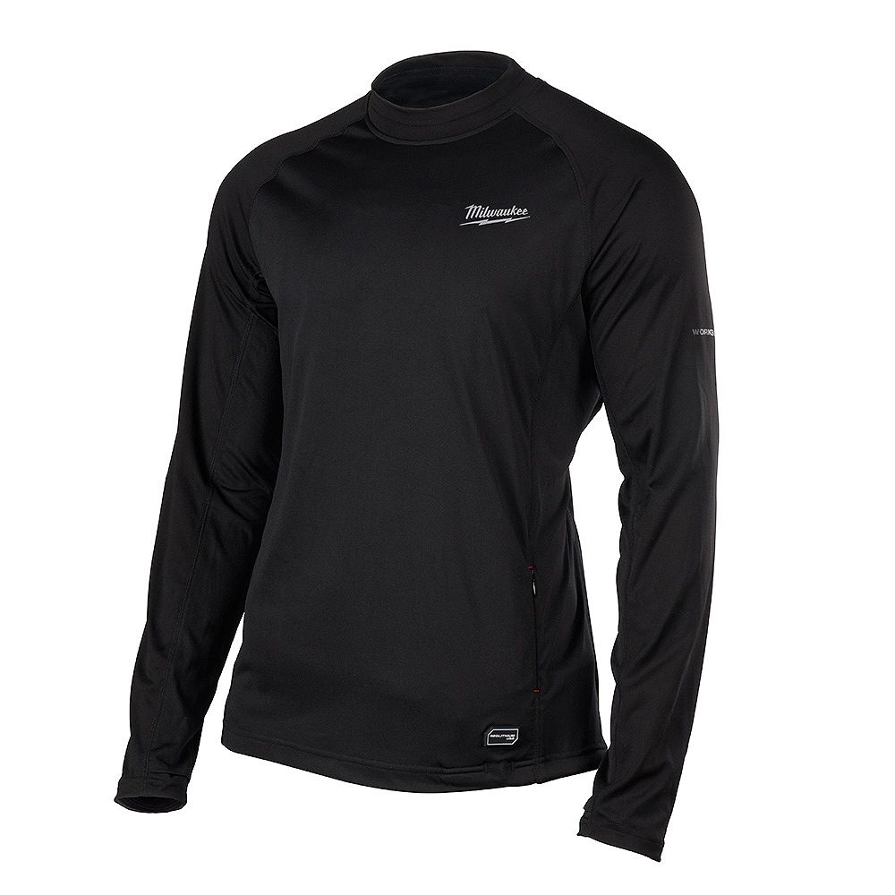 Milwaukee Tool Men's Large Black Heated WORKSKIN USB Rechargeable Midweight Base Layer Shirt