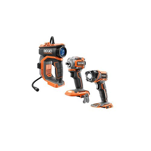 18V Cordless Inflator, 3/8-inch Sub-Compact Impact Wrench and Torch Light Kit