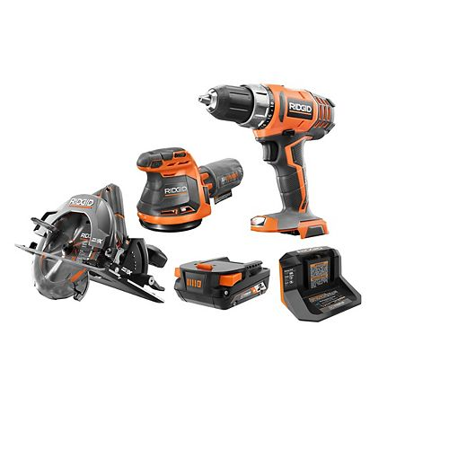 18V Cordless 3-piece Combo Kit with 2.0 Ah Battery and Charger