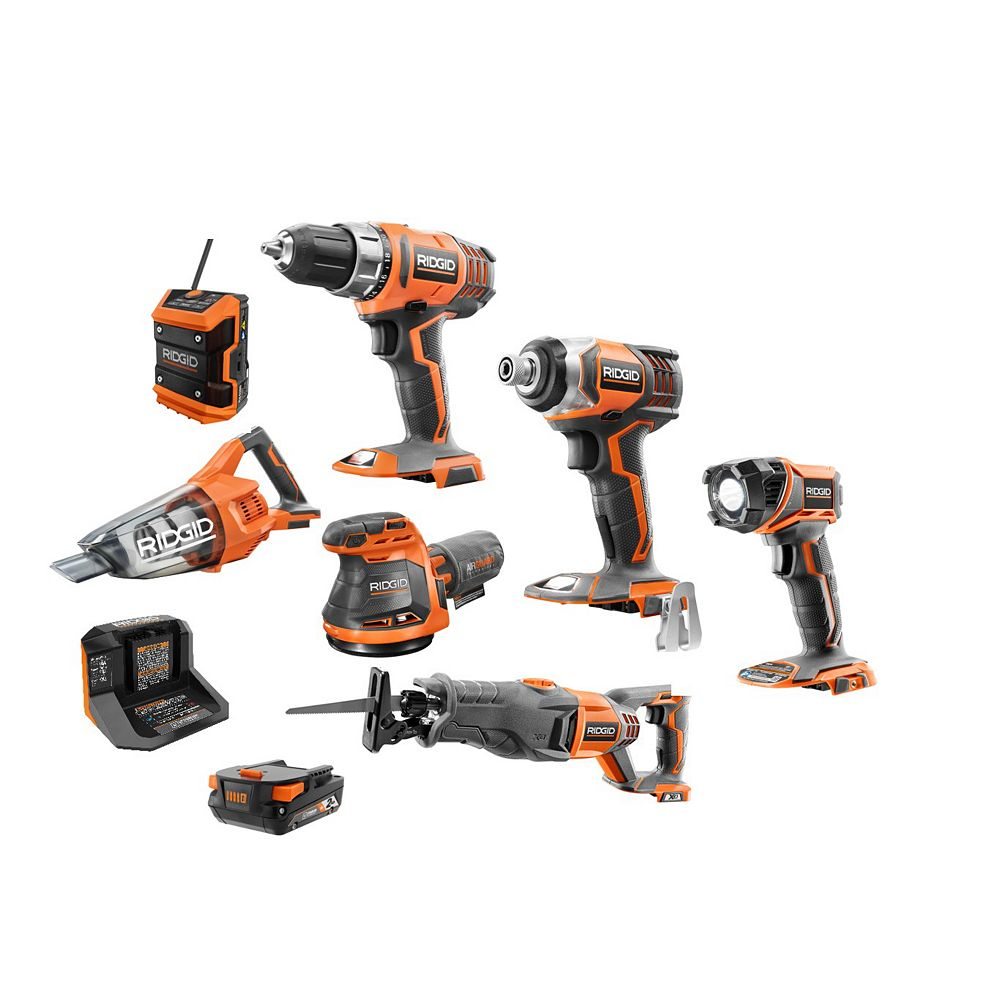 RIDGID 18V Cordless 7-piece Combo Kit with Rolling Keter Case, 2.0 Ah Battery and Charger