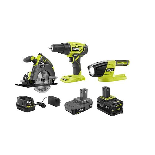 18V ONE+ Cordless 3-piece Kit with (1) 1.5Ah Battery, (1) 4.0Ah Battery and Charger