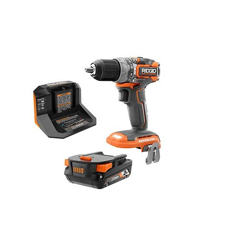 18V Lithium-Ion Brushless Cordless SubCompact Brushless 1/2 In. Hammer Drill/Driver Kit with (1) 2.0 Ah Battery, Charger, and Bag