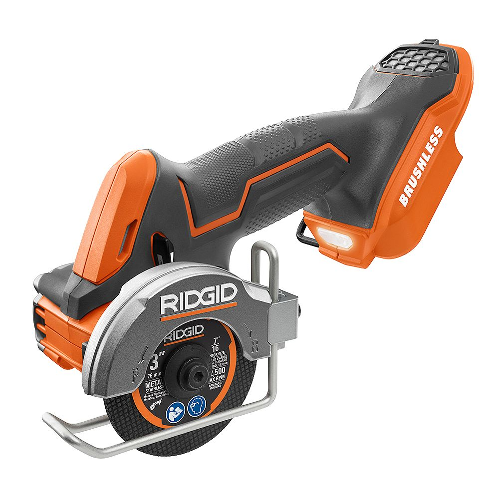 RIDGID 18V Brushless Sub-Compact Cordless 3-inch Multi-Material Saw (Tool-Only) with (3) Cutting Wheels