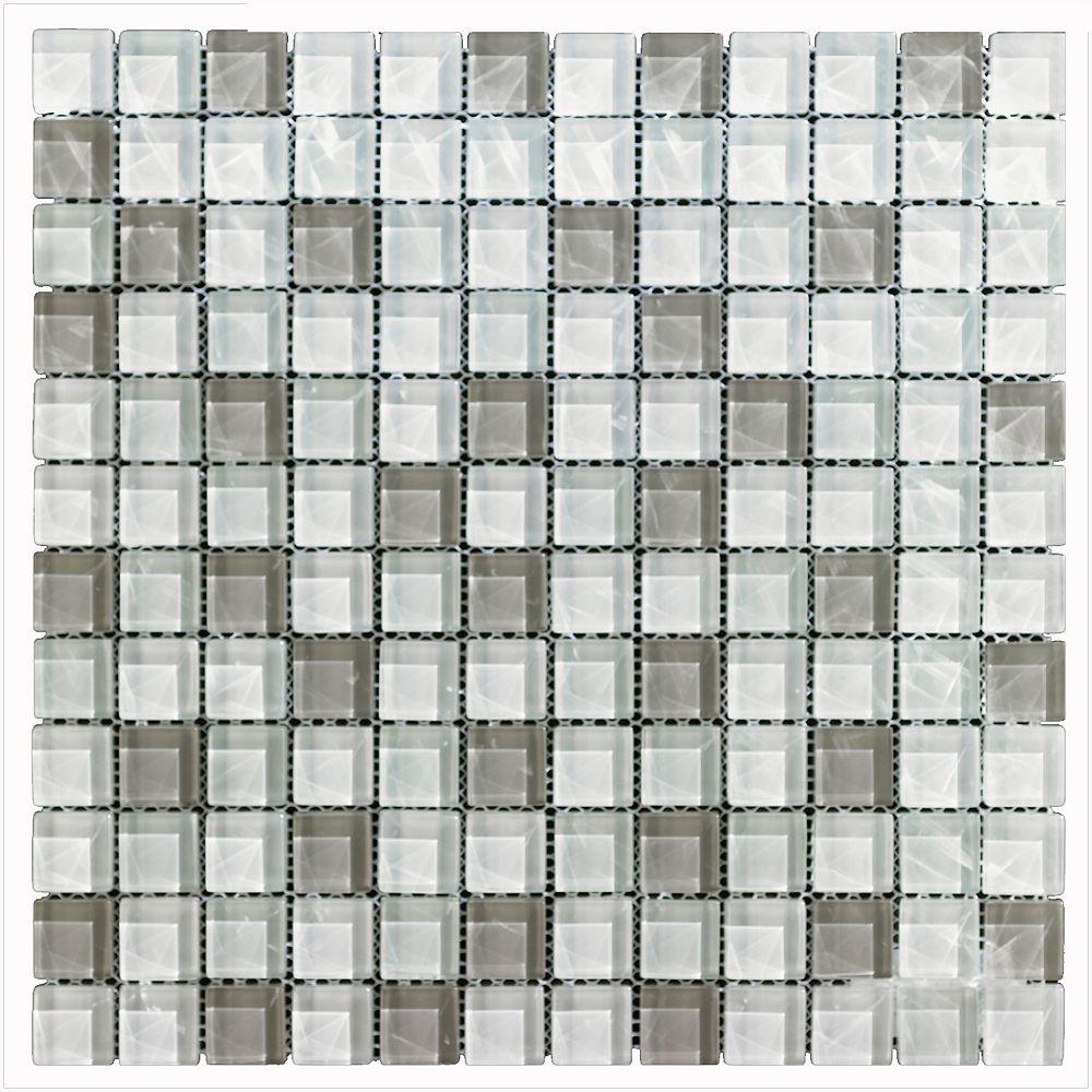 Mono Serra Group Mono Serra Carreau de mosaïque en verre Blanc gris 12 po x 12 po, 5 pi2/boîte