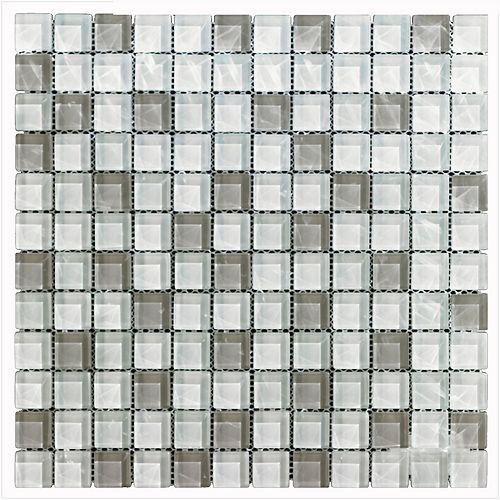 Mono Serra Carreau de mosaïque en verre Blanc gris 12 po x 12 po, 5 pi2/boîte