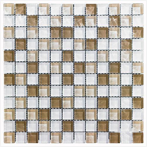Mono Serra Carreau de mosaïque en verre Blanc beige 12 po x 12 po, 5 pi2/boîte