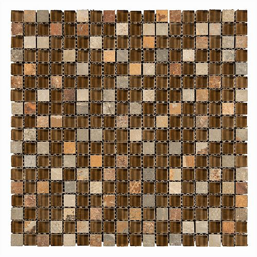 Mono Serra Carreau de mosaïque en verre Combo brun 14 po x 12 po, 10 pi2/boîte