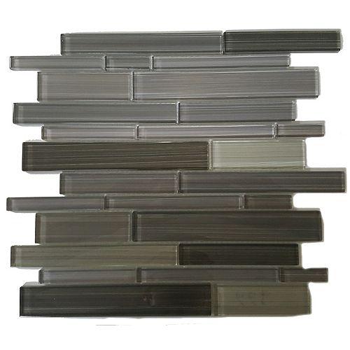 Mono Serra Carreau de mosaïque en verre Skyline Gris 14 po x 12 po, 5 pi2/boîte