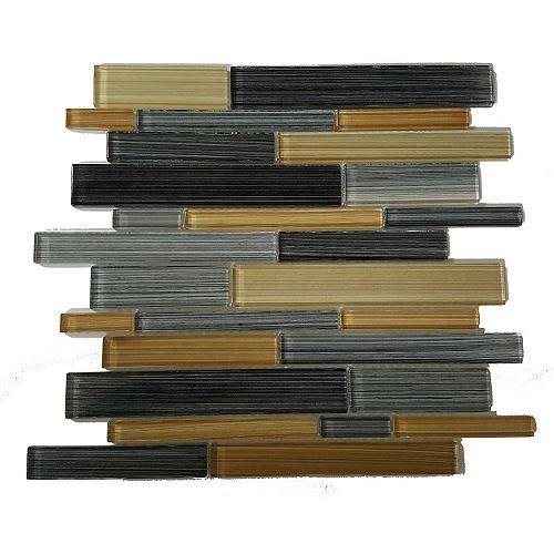 Mono Serra Carreau de mosaïque en verre Skyline Sole 14 po x 12 po, 5 pi2/boîte
