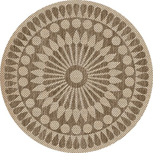 6 ft. 6-inches Round Curtis Medallion Indoor Outdoor Rug