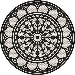 6 ft. 6-inches Round Howell Medallion Indoor Outdoor Rug