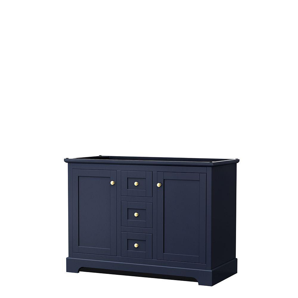 Wyndham Collection Meuble double Avery 48 po en bleu foncé, sans comptoir, sans éviers, sans miroir