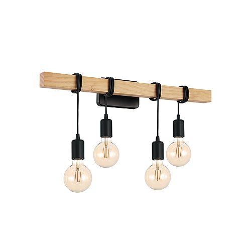 Kingswood 4-Light Wood and Black Finish Vanity Light Fixture