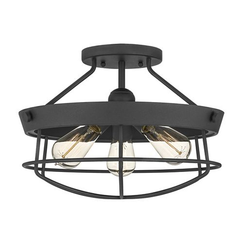 15.5-inch Matte Black Semi-Flushmount Fixture with Steel Construction Cage Shade