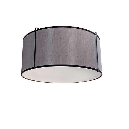 Dainolite Montage encastré à 2 lampes, abat-jour noir et gris, noir.