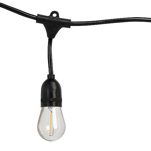 Ensemble de guirlandes lumineuses int/ext de 48 pi à 24 prises à DEL avec ampoules à filament
