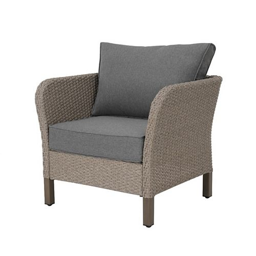 Arbor Point Brown Wicker Outdoor Patio Lounge Chair with Gray Cushions (2-Pack)