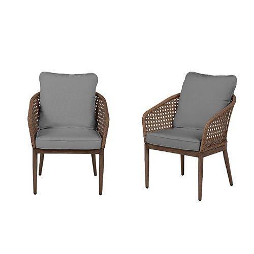 Hampton Bay Coral Vista Brown Wicker Outdoor Patio Dining Chair with Bare Cushions (2-Pack)