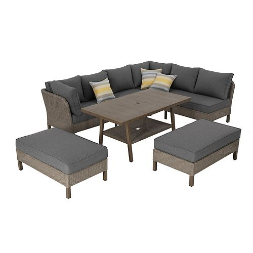 Arbor Point 5-Piece Brown Wicker Outdoor Dining Set with Gray Cushions