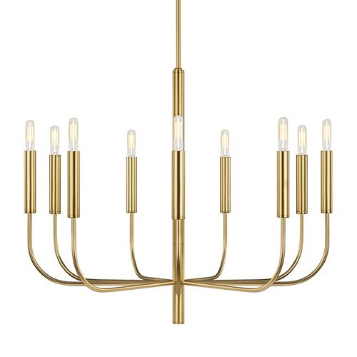 Brianna 30 in. W 9-Light Burnished Brass Chandelier with Swivel Canopy