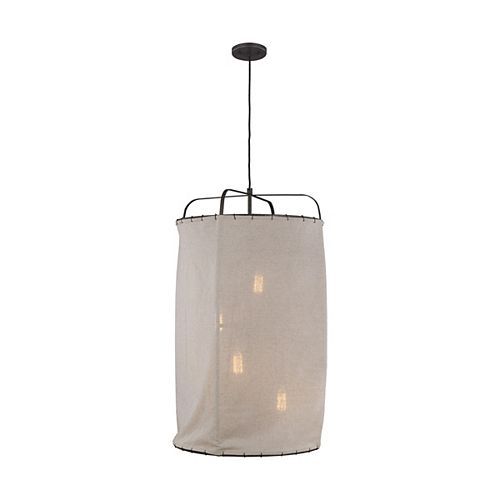 ED Ellen DeGeneres Crafted by Generation Dunne 21.875-inch W 4-Light Aged-Iron Pendant with Natural Linen Shade