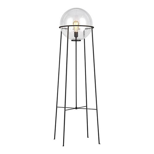 ED Ellen DeGeneres Crafted by Generation Atlas 52.5 in. Aged Iron Floor Lamp with Clear Seeded Glass Orb Shade