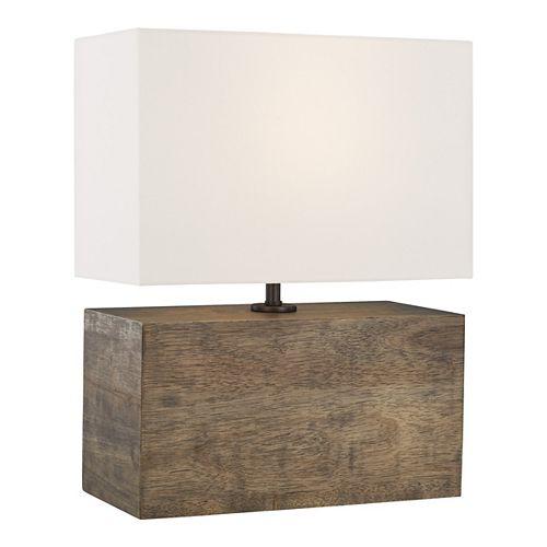 Redmond 19,75 po Lampe de table en bois de chêne usé avec abat-jour en lin blanc