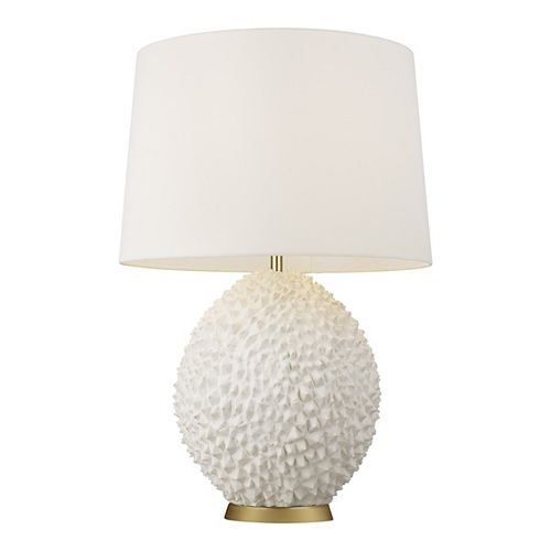 Anhdao 30.375 in. White Table Lamp and Shade with Burnished Brass Base