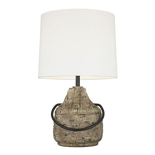 Augie 27,375 po Lampe de table à fini en pierre avec abat-jour tambour en lin blanc