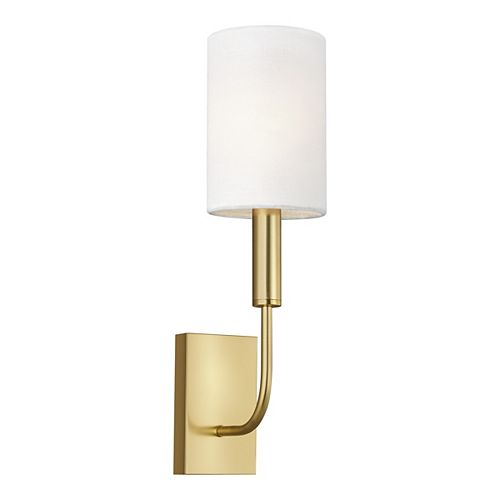 Brianna 4 in. W 1-Light Burnished Brass Sconce with White Linen Shade